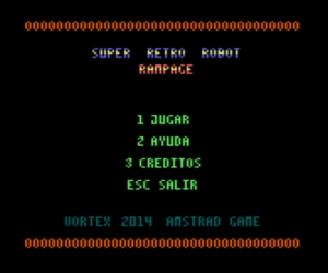 Super Retro Robot Rampage - Menu